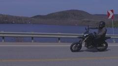 Super slow motion supermoto biker Stock Footage