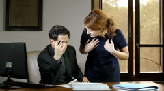 Work heated argument  between business woman and his employee in the office - stock footage