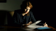 Angry and nervous business woman, dissatisfied with the work report - stock footage