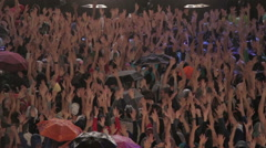 Crowd of hands during concerto del 1 maggio in Rome Stock Footage