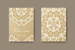 Wedding invitation decorated with white lace, vector background divider - stock illustration