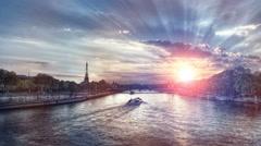 Paris and Eiffel Tower at sunrise Arkistovideo