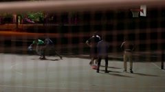 Urban Youth Playing Basketball in Public Park Stock Footage