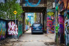 Colorful street art in Graffiti Alley, in the Fashion District of Toronto, On Stock Photos