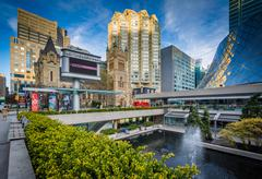 Fountains and modern buildings at David Pecaut Square, in downtown Toronto, O Stock Photos