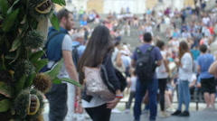 Hide view on piazza di Spagna while people walking Stock Footage