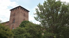 Castello Visconteo castle Tower in Pavia, PV, Italy Stock Footage