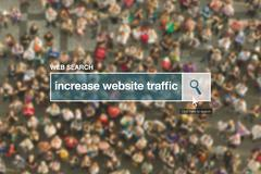 Increase website traffic web search bar glossary term Stock Photos