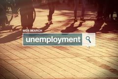Unemployment web search bar glossary term - stock photo