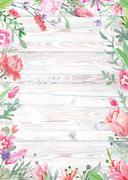 Watercolor Floral Frame on Wood Background Stock Illustration