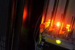 Fiber optic with servers in a technology data center Stock Photos