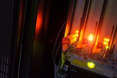 Fiber optic with servers in a technology data center Kuvituskuvat
