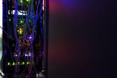 Storage servers in data room Domestic Room long exposure technique - stock photo