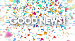 Good News sign with falling colorful confetti animation Stock Footage