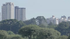 Beautiful park with buildings in back Stock Footage