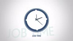 Job time clock symbol flat animation Stock Footage