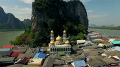 Muslim floating village Panyee island, Phanga, Thailand. Drone, aerial shot. N. - stock footage
