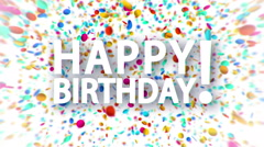 Happy birthday sign with falling colorful confetti animation Stock Footage
