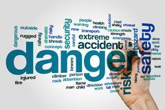 Danger word cloud concept - stock photo