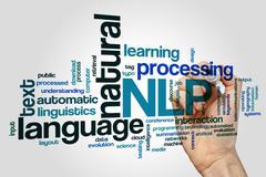 Natural language processing word cloud Stock Photos