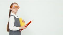 Angry teacher on white background Stock Footage