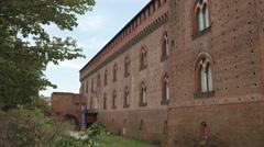 Castello Visconteo castle and its empty moat, Pavia, PV, Italy - stock footage
