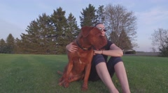 4k dogue de bordeaux and his pretty owner Stock Footage