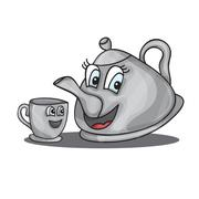cartoon kettle with a cup - stock illustration