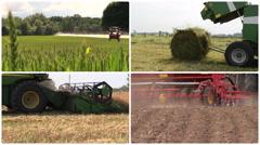 Field spray. Grass bales. Harvesting. Fertilize. Video collage Stock Footage