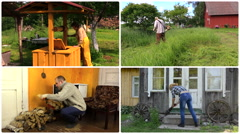 People work various garden jobs in rural farm. Footage collage Stock Footage