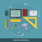 Graphic design flat concept. Editable vector illustration for website banner  Stock Illustration