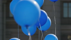 Color helium balloons fly. Stock Footage