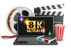 8K laptop, popcorn and film strip Stock Illustration