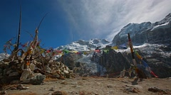 Flags in Kanchenjunga region Stock Footage