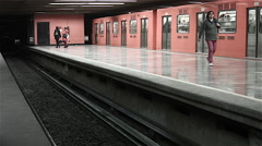 Subway Train Arrival Mexico City Mid Shot Stock Footage