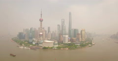 Shanghai Lujiazui Peninsula (wide) dolly to the right - stock footage