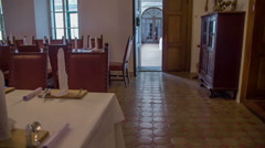 Big dining room ready for guests Stock Footage