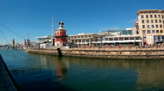 Panning shot of V&A Waterfront in Cape Town Stock Footage