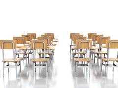 3d classroom with school chairs. Education concept. Piirros
