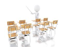 3d white people with school chairs. Piirros