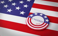 3d llustration of presidential campaign pin. - stock illustration