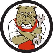 Bulldog Mechanic Arms Crossed Spanner Circle Cartoon - stock illustration