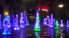 4K Dancing Water Fountains in Splash Pond at The Linq Las Vegas Stock Footage
