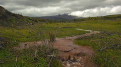 Muddy floodwater running down a gully high in the Andes Stock Footage