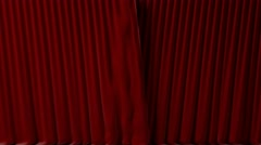 Red velvet curtains opening and closing with alpha mask Stock Footage