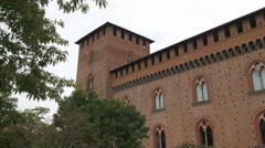 Tilt shot of castello Visconteo in Pavia, PV, Italy Stock Footage