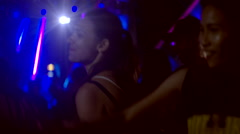 Group of girls dance at concert Stock Footage