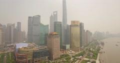 Shanghai Lujiazui (Near) lift up - tilt down - lift up - stock footage