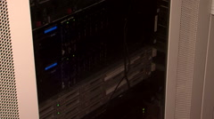 Small messy server room in school building lots of cables tangled chaos Arkistovideo
