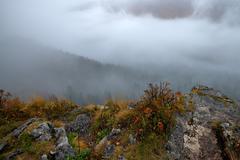 Scenic view of foggy mountains Stock Photos